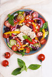 Greek salad with fresh vegetables, feta cheese, black olives Royalty Free Stock Photography