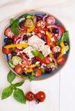 Greek salad with fresh vegetables, feta cheese, black olives Stock Photo