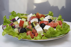 GREEK SALAD. With fresh vegetables, feta cheese and black olives Stock Photography