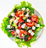 GREEK SALAD. With fresh vegetables, feta cheese and black olives Royalty Free Stock Images