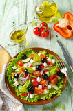 Greek salad with fresh vegetables, feta cheese and black olives Royalty Free Stock Photo
