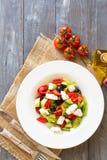 Greek salad with fresh vegetables Stock Photos