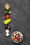 Greek salad with fresh vegetables, feta cheese and black olives. Top view Royalty Free Stock Photography