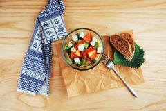 Greek salad with fresh vegetables, feta cheese and olives Stock Images
