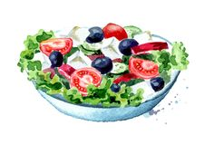 Greek salad with fresh vegetables and feta cheese. Watercolor hand drawn illustration, isolated on white background.  Stock Photos