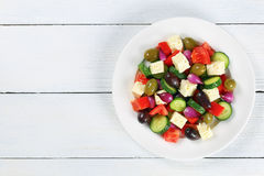 Greek salad with fresh vegetables, top view Stock Photos
