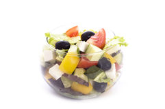 Greek salad in glass bowl Royalty Free Stock Photos