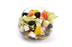 Greek salad in glass bowl Stock Photography