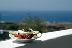 Greek salad Greek island scene royalty free stock photos