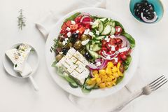 Greek salad. Healthy eating. Greek salad. Healthy diet eating royalty free stock photography