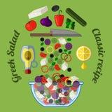Greek salad infographics. Illustration of the cooking process. Ingredients vector illustration