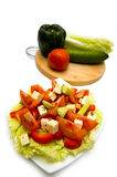 Greek Salad and ingredients Royalty Free Stock Photos