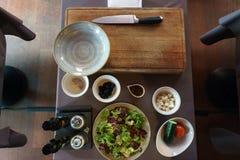 Greek salad ingredients stock images