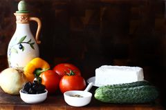 Greek salad ingredients, horiatiki salata royalty free stock photography