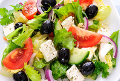 Greek salad isolated on white Stock Image