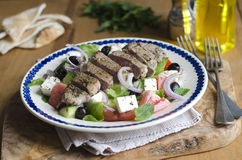 Greek salad with lamb meat Royalty Free Stock Photography