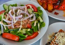 Greek salad at local restaurant royalty free stock photos