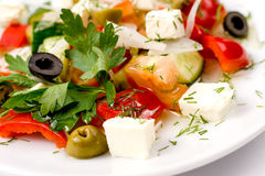 Greek salad, macro Royalty Free Stock Image