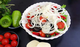 Greek salad is made from ingredients Royalty Free Stock Photo