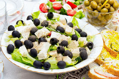 Greek salad. With olives and cheese Stock Photos