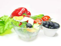 Greek salad with olives egg and vegetables Stock Photo