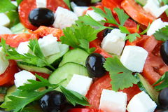 Greek salad with olives, tomatoes Stock Images
