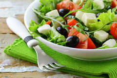 Greek salad with olives, tomatoes Stock Photo