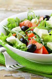 Greek salad with olives, tomatoes Royalty Free Stock Images