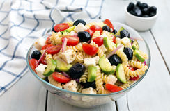Greek salad with pasta Royalty Free Stock Photography