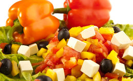Greek salad with peppers closeups Stock Photography