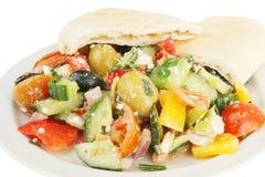 Greek salad and pitta bread closeup Royalty Free Stock Photo