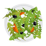 Greek salad on plate. Illustration of greek salad mix with black olives, tomatoes and greek cheese Royalty Free Stock Images