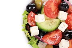 Greek salad in plate closeup. Stock Photography