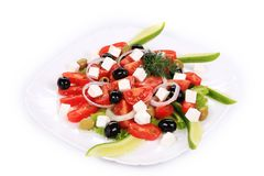 Greek salad in plate. Royalty Free Stock Image