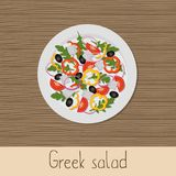 Greek salad. Plate with salad on a wooden background. Healthy eating concept. Vector illustration Stock Photos
