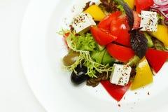 Greek salad on plate royalty free stock photos