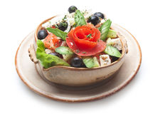 Greek salad in plate Stock Photos