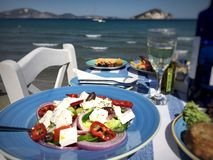 Greek salad at sea royalty free stock photos