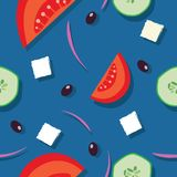 Greek salad seamless pattern stock photography