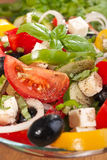 Greek salad serving Royalty Free Stock Photos