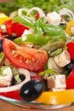 Greek salad serving Royalty Free Stock Photos