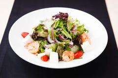 Greek salad with shrimp Stock Photo