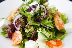 Greek salad with shrimp Royalty Free Stock Photos