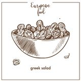 Greek salad sketch icon for European Mediterranean food cuisine menu design. Greek salad sketch icon for European food cuisine menu design. Vector retro sketch Stock Photos
