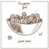 Greek salad sketch icon for European Mediterranean food cuisine menu design. Greek salad sketch icon for European food cuisine menu design. Vector retro sketch vector illustration