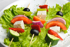Greek salad on sticks Royalty Free Stock Image