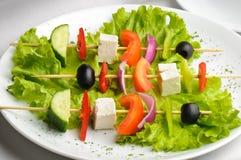 Greek salad on sticks stock photo