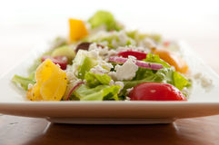 Greek salad with sugar beets. Gorgeous sugar beets, tomatoes, cucumber and red onion with feta mixed into a delicious summer salad Stock Photography