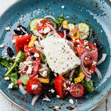 Greek salad with sun-dried olives Royalty Free Stock Image