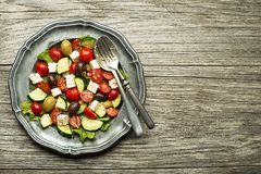 Greek salad with tomato and feta cheese Stock Photos